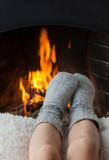 Children's feet are heated stock photos