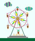 Children`s ferris wheel. With ice-cream booths and caramel clouds Stock Photography