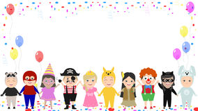 Children`s festive background. Children in different carnival co. Stumes. Vector cartoon Royalty Free Stock Photo