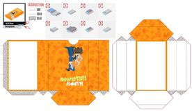 Children`s folding paper box with painted witch vector illustration