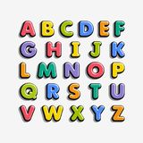 Alphabet for kids in the cartoon style. Children`s font with colorful letters. Vector illustration royalty free illustration