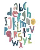 Children s font in the creative abstract style royalty free illustration