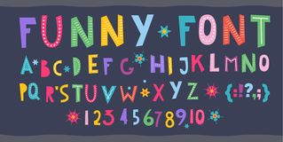 Children s font. Funny kid cartoon letters for school, kindergarten. Fonts for kids zone, decoration. Include numbers and signs. Cute color alphabet. baby stock illustration