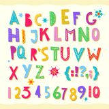 Children s font. Funny kid cartoon letters for school, kindergarten. Fonts for kids zone, decoration. Include numbers and signs. Cute color alphabet. baby royalty free illustration