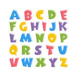 Alphabet for kids in the cartoon style. Children`s font with pink, blue, yellow, green and purple letters. Vector illustration on white background stock illustration