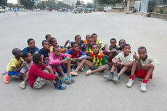 Children's football in Ethiopia Royalty Free Stock Image