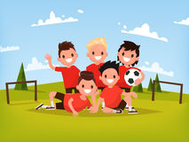 Children's football team. Boys playing football outdoors. Vector. Illustration of a flat design Royalty Free Stock Photography