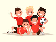 Children's football team. Portrait of young soccer players. Vect. Or illustration of a flat design Stock Photos