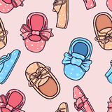 Children's footwear texture. Seamless pattern. Color graphic illustration. Background Royalty Free Stock Image
