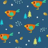 Children`s forest pattern. Funny birds among the forest thicket. Cute children`s seamless pattern. Bright ornament is great for prints, textiles, covers, gift Royalty Free Stock Photo