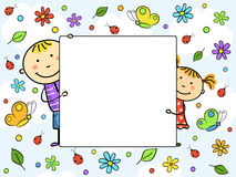 Children's frame. Boy and girl holding a white sheet. Children with a frame surrounded by flowers, leaves, butterflies and ladybirds Royalty Free Stock Photos