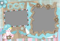 Children's frame for the boy. Children's frame on two cuts for the boy Royalty Free Stock Images