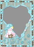 Children's frame for the boy with heart. Children's frame for the boy with cut for a photo Royalty Free Stock Photography