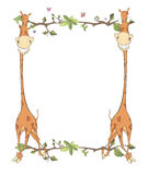 Children's frame with giraffes cartoon Royalty Free Stock Images