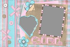 Children's frame for the girl. Children's frame on two cuts for the girl Stock Photography