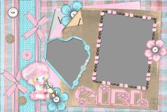 Children's frame on photo for the girl. Children's frame on two cuts on photo for the girl Stock Photography