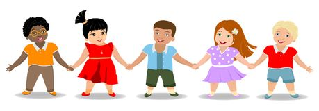 Children`s friendship, boys and girls royalty free illustration
