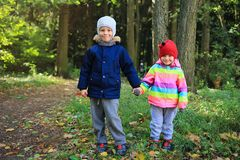 Children`s friendship. Children stand together and hold hands in the autumn park. Little boy and girl friends royalty free stock photography