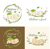 Children`s fund. Family care logo vector design. Child Care and Medical Services. Child freedom and active lifestyle. Children`s fund Royalty Free Stock Images