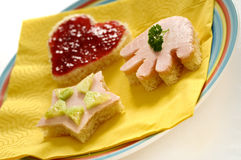 Children's Funny Sandwiches. In the shape of heart, hand and star Stock Image