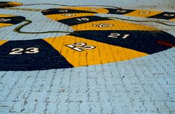 Children`s game on concrete floor royalty free stock photo