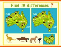 Find the difference on the map of Australia with the animals. Children`s game know the difference on the map of Australia Royalty Free Stock Image