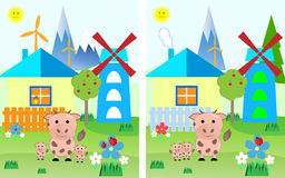 Children`s game puzzle find differences, Stock Photo