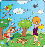 Children's games. Children with kite and balloon vector illustration