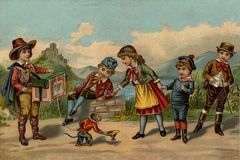Children`s games. Children listen to music. Royalty Free Stock Photo