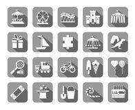 Children`s games and entertainment, icons, gray, vector. Stock Photos