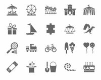 Children`s games and entertainment, icons, monochrome, vector. Stock Photo