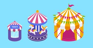 Children`s gaming rides, roundabout carousel, circus tent. Exterior of buildings. Children`s gaming rides, roundabout carousel, amusement park with circus tent vector illustration