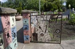 Children's garden in Oregon Garden. Garden gate made of reused metals in Oregon Garden, Oregon, USA Stock Photo