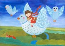 Children`s gouache painting `Magic flights in a dream`. Stock Photos