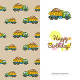 Children's greeting card colorful truck Royalty Free Stock Photos