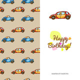 Children's greeting card funny color colorful cars Royalty Free Stock Photos