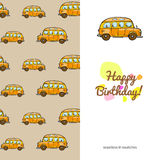 Children's greeting cardtoys transport. sided with seamless pattern. funny color colorful cars Stock Photography