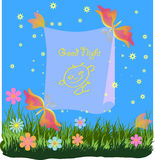 Children's greetings card with butterflies and fl Stock Photography