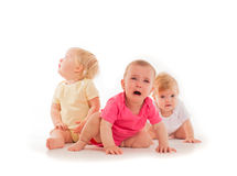 Children`s grief of the three babies Stock Photography
