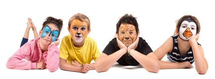Kids with animal face-paint stock image