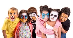Kids with animal face-paint stock photos