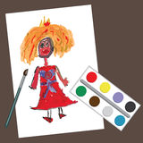 Children's hand drawing Princess.Doodle paintings stock illustration