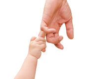 Children's hand holds the hand of the father Stock Photography