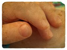 Children's hand. Old postcard. Royalty Free Stock Photos