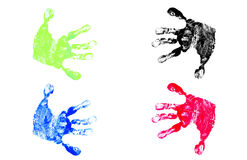 Children's Hand Prints. Colorful Children's Hand Prints Isolated on White Background Royalty Free Stock Photography