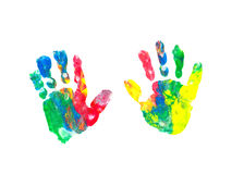 Children's hand prints. Colorful hand prints of a toddler royalty free stock images