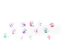 Children's hand prints on white wall Royalty Free Stock Images