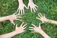 Children's hands around on the grass Stock Photo