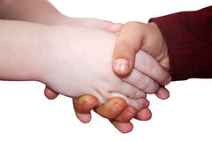 Children`s hands, handshake isolated royalty free stock images