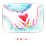 Children's hands in the form of heart. I love you. Vector illustration, EPS10 Stock Image